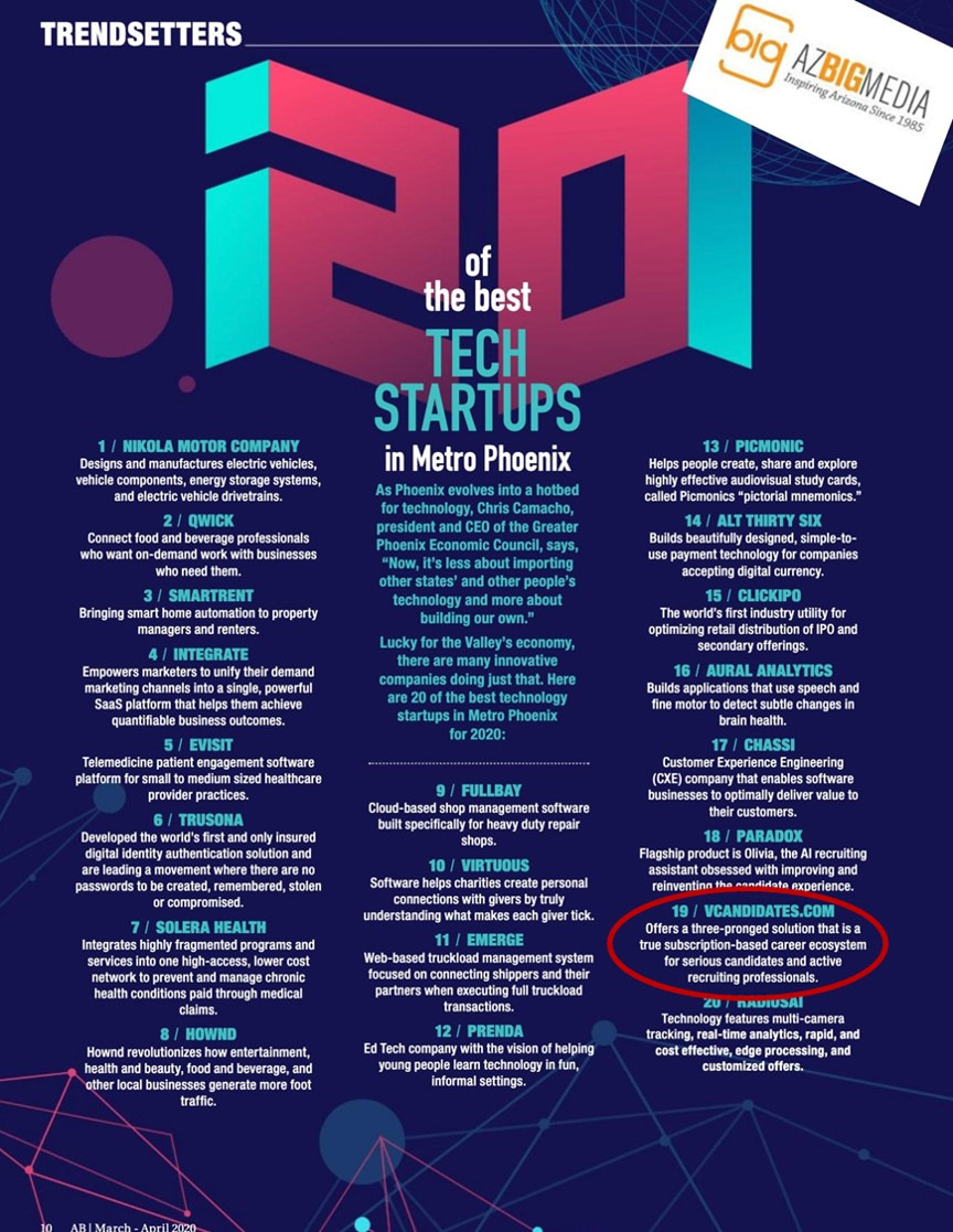 We are thrilled to be named one of the Top 20 Tech Startups in Metro Phoenix by AZ Big Media.
